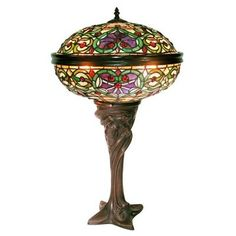 Warehouse of Tiffany ZDL145B+1639 2 Light Style Barquare Domed Table Lamp