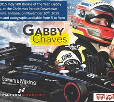 Gabby Chaves at Annual Holiday Parade – Gabby Chaves, Indy 500 Rookie of the Year Race car driver, has taken his show car and decorated it with logos from the U.S. Marine Corp Reserves Toys for Tots Program. Before and after the parade on Friday, November 20, 2015, Gabby will be present in the downtown circle in Shelbyville to sign autographs and to take photos with your children. Your...