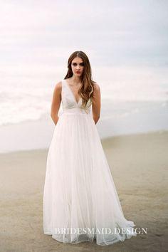 Simply ivory tulle A-line long beach wedding dress. Sleeveless plunging V  neckline. b4cb0751ddf0