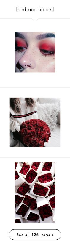 """""""[red aesthetics]"""" by sleeping-fox ❤ liked on Polyvore featuring red, aesthetics, pictures, makeup, image, jewelry, icon, get lost, heart shaped jewelry and heart jewelry"""