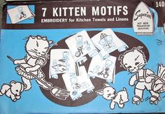 Vintage 1940s Superior Hot Iron on Transfer Pattern 140, Kitchen Kittens, Kitties, Cats Seven Dow Embroidery Motifs for Towels, Linens Uncut by RosesPatternsEtc on Etsy https://www.etsy.com/listing/495650144/vintage-1940s-superior-hot-iron-on