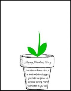 "Print off this free Mother's Day Flower Pot Poem PDF and have your little ones stamp their handprints to make flowers! It says ""I am like a flower that is raised with love by you. You help me grow up big and strong, mom."