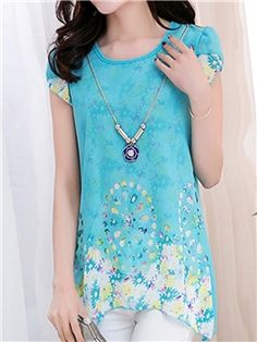 Ericdress Candy Color Printing Chiffon Blouse