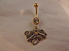 Steampunk Octopus Navel Belly Ring Gold Plated and Brass  $15.00