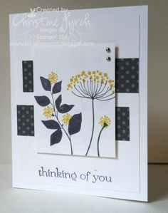 handmade card ... Summer Silhouettes ... beautiful use of the set in dark gray and yellow .. luv it!! ...Stampin' Up!