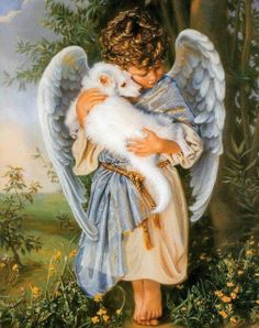 Missing my pets at the rainbow bridge I Believe In Angels, Ange Demon, Angels Among Us, Angel Pictures, Angels In Heaven, Guardian Angels, Pet Loss, Angel Art, Rainbow Bridge