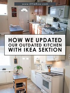 Affordable kitchen upgrade with Ikea cabinets and herringbone tile floors. | From EffieRow.com Ikea Cabinets, Kitchen Cabinets, Herringbone Tile Floors, Bright Kitchens, Kitchen Upgrades, Quartz Countertops, Ikea Hack, Flooring, Ikea Cupboards