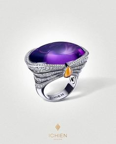 Ichien Jewellery Moscow- Beautiful Diamonds and Amethyst ring.