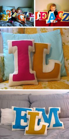 Monogram initials pillows in Babies and kids room decoration