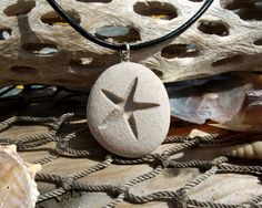 Starfish -Talisman of Travel over Water - Engraved Beach Stone Pendant - Star of the Sea necklace via Etsy