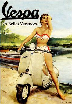 publicité vespa avec une jolie pin-up en bikini