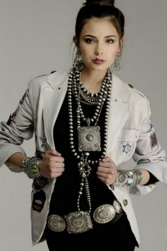 #11 concho belt with fashionable outfit complete with turquoise necklace and tan jacket