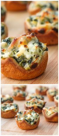 Spinach Dip Bites - so delicious and perfect for any party or get together. { lilluna.com } Crescent dough squares filled with lots of cheeses, garlic, spinach, and artichoke hearts.