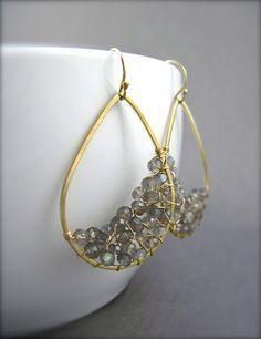Labradorite Gold Dangle Earrings Gray Gemstone by NellBelleDesigns, $59.00
