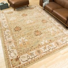 Shop for Nourison Caspian Hand-tufted Sage Green Wool Rug (5' x 8'). Get free shipping at Overstock.com - Your Online Home Decor Outlet Store! Get 5% in rewards with Club O! - 12720087