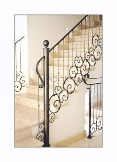 Designed Iron Railings Gallery - New Deko Sites Metal Staircase Railing, Staircase Lighting Ideas, Luxury Staircase, Wrought Iron Staircase, Wrought Iron Decor, Staircase Design, Iron Railings, Balcony Railing Design, Village House Design