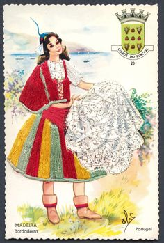 For Portugal, the serie focuses on traditional handcrafts, jobs or traditions Folk Costume, Costumes, Portugal, Archie, Traditional Dresses, Paper Dolls, Stamp, Embroidery, History