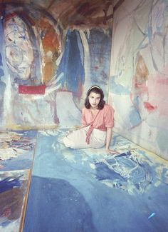 Jewish-American-Abstract-Expressionist-Painter-and-Artist-Helen-Frankenthaler-in-her-NYC-Studio-Photographed-by-Gordon-Parks-for-Life-Magazine-1956.jpg (600×828)