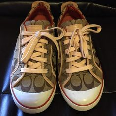 Pre-Loved Authentic COACH Barrett Sneakers Pre-Loved Authentic COACH Barrett Sneakers in still Greattt Condition except for some in the bottom sides as shown in pictures which All is Cleanable! Make me an Offer Loves! Coach Shoes Sneakers