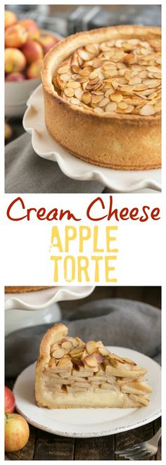 Cream Cheese Apple Torte   A buttery crust is topped with sweetened cream cheese, loads of cinnamon spiced apples, then sliced almonds