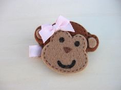 Girl Hair Clip, Felt Barrette for Toddlers, No Slip Clip, Girl Monkey with Light Pink Hair Bow, Baby Girl Barrettes by ZNextDesigns on Etsy https://www.etsy.com/listing/126278114/girl-hair-clip-felt-barrette-for