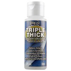 Americana® Triple Thick Gloss Glaze. To seal glitter vinyl on glasses, top rack dishwasher safe