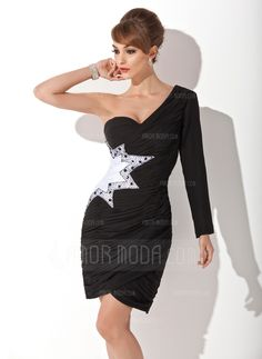 Cocktail+Dresses+-+$122.99+-+Sheath/Column+One-Shoulder+Knee-Length+Chiffon+Cocktail+Dress+With+Ruffle+Beading+(016008275)+http://amormoda.com/Sheath-Column-One-shoulder-Knee-length-Chiffon-Cocktail-Dress-With-Ruffle-Beading-016008275-g8275