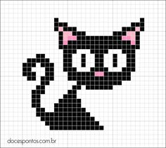 Black cat cross stitch pattern