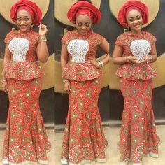 Orange and brown floral lace gown - Asoebi