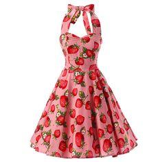 SISHION 2017 Summer Women Dress Halter Plus Size vestidos Pink Sexy Strawberry Print Swing Rockabilly Vintage Dress Women's A Line Dresses, Women's Knee Length Dresses, Plus Size Dresses, Vestidos Vintage, Vintage Dresses, Floral Dresses, Casual Dresses, Vestidos Halter, Vestidos Sexy