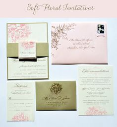 Peony Wedding Invitations, Blush Peony Wedding Invitations by Whimsy B. Paperie