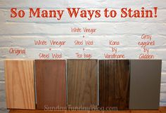 So Many Ways To Stain! 4 different finishes for new wood - quick aging using vinegar solutions [by SundayFundayBlog.com]