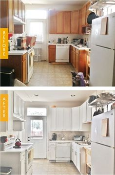 Really cool kitchen redo with paint and hardware.