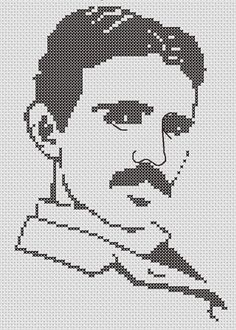 Celebrate Nikola Tesla's Birthday With This Silhouette Cross Stitch Pattern Kandi Patterns, Beading Patterns, Nikola Tesla Birthday, Hand Embroidery Patterns, Embroidery Designs, Cross Stitching, Cross Stitch Embroidery, Cross Stitch Designs, Cross Stitch Patterns