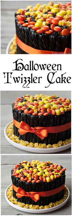 A fun and colorful Twizzler and candy cake to blow your guests away on Halloween! :D Super duper easy to make! From cakewhiz.com