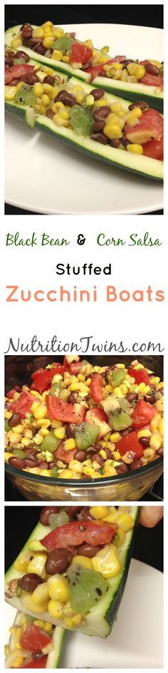 Black Bean and Corn Salsa Zucchini Boats | Only 39 Calories/ Boat | Awesome Wine Vinaigrette | Fiber, Protein-Packed | For MORE RECIPES please SIGN UP for our FREE NEWSLETTER www.NutritionTwins.com