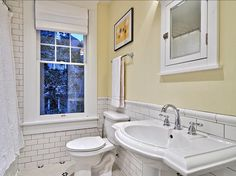 """Benjamin Moore Windham Cream HC-6 """"A sunlit, luscious cream with a whispery undertone of pale butter."""" A bathroom wall painted in Benjamin Moore Windham Cream. … Read More"""