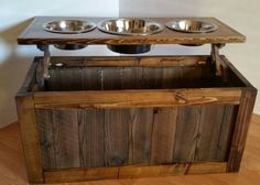 Raised Dog Feeder With Storage 3 Bowl Dog By MTrusticwoodwork