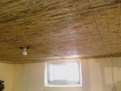 bamboo fence from Home Depot used for basement ceiling decke Backyard X-Scapes 6 ft. H x 16 ft. L Reed Fencing Basement Layout, Basement Windows, Basement Walls, Basement Ideas, Basement Designs, Modern Basement, Basement Laundry, Basement Bathroom, Rustic Basement