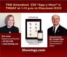 """Texas Realtors® Conference Attendees got to enjoy a CSS """"App-y Hour"""" today with our Ann Lowe and Special Guest Dwight Hale, as they gave a demonstration of all the benefits CSS Members enjoy EVERY DAY!"""
