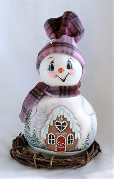 Snowman Gourd - Snowman Gourd with Gingerbread House - Hand Painted Gourd Christmas Ornament Crafts, Holiday Crafts, Christmas Ideas, Snowman Faces, Snowmen, What Is A Bird, Gourds Birdhouse, Hand Painted Gourds, Halloween Items