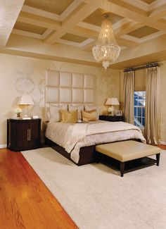 This #bedroom is beautiful! I love the chandelier.