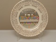 The Last Supper Religious Display Plate ~ Gold Gilt Floral Filigree Scalloped Bordered Rim ~ Crooksville China Co RARE! Collectible Vintage