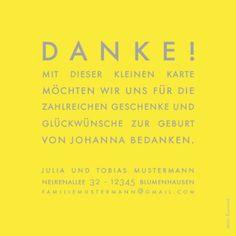 Dankeskarte Mini The Photo! by Sibylle Derkenne für Geburtskarten.com #Modern #Danksagung #Geburt