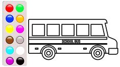 Car And Truck Coloring Pages School Bus Book Video For Kids To