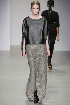 Leather cape shirt with long muted wrap skirt looks elegant and cool for the Fall into-evening crowd. Jean-Pierre Braganza Fall 2014 Ready-to-Wear Collection Slideshow on Style.com