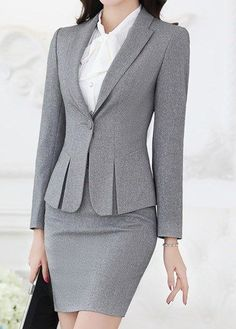 Uniform Design Red Black Grey Formal Business Suits For Women Office Work Woman Skirt Suits Ladies Blazer Corporate Wear, Business Outfits, Office Outfits, Outerwear Women, Outerwear Jackets, Only Blazer, Work Suits, Blazers For Women, Ladies Blazers