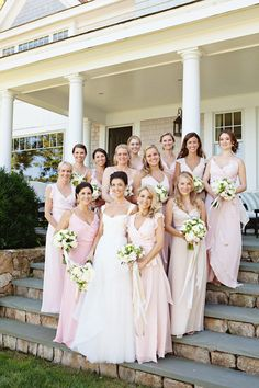 Utterly Engaged // Joanna August Pastel bridesmaids for a Fall wedding