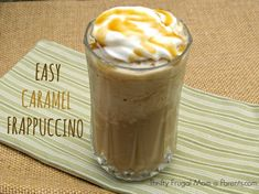 Easy Caramel Frappe- Make your own caramel frappuccino with this delicious, easy recipe. Not only will it save you money, it's also a great way to use up leftover coffee! This has become my latest obsession and I think it tastes better than Starbucks. Caramel Frappe Recipe, Caramel Frappuccino, Homemade Frappuccino, Homemade Liquor, Smoothies, Smoothie Drinks, Frappachino Recipe, Iced Coffee Drinks, Coffee Coffee
