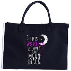 This Ashley Is Loved To The Moon And Back Christmas  Tote Bag *** Check out this great product. #XmasStorageOrganization
